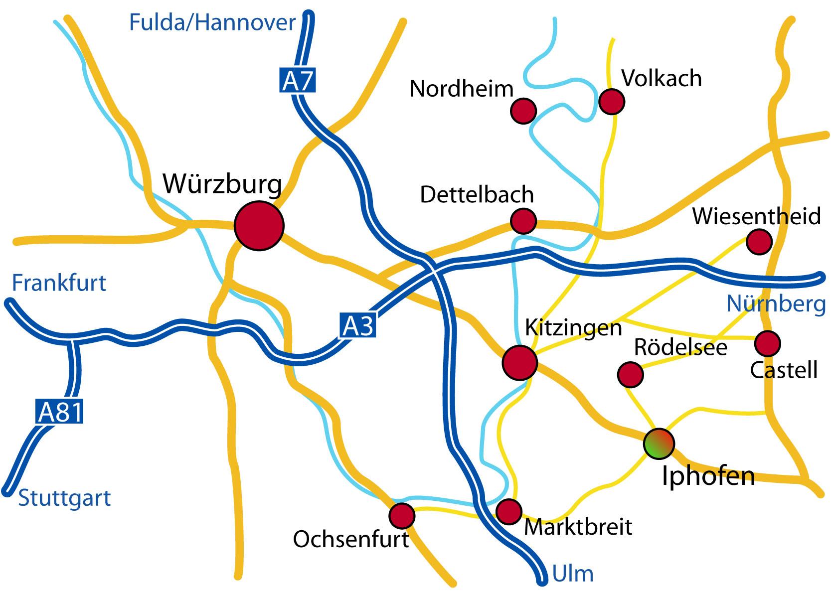 Frankenwein in Iphofen: Anfahrt